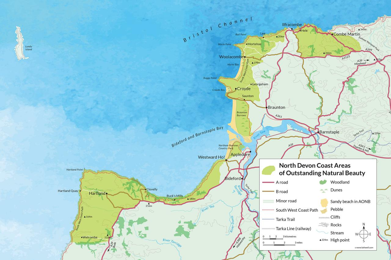 Map of the North Devon Coast Area of Outstanding Natural Beauty