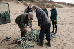 Cleaning up on Saunton Beach