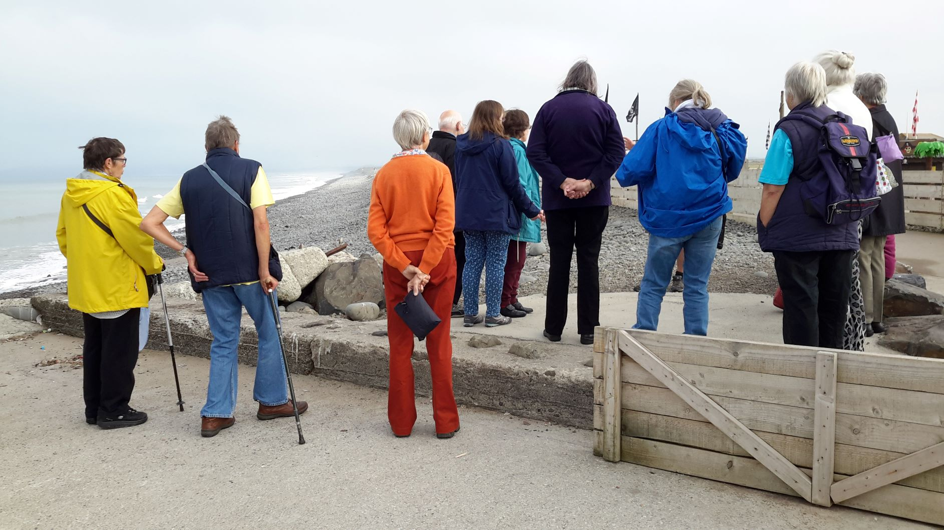 Mixed ability walkers at Westward Ho!